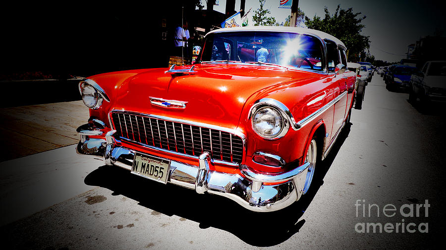 Old Photograph - Red Chevrolet Bel Air by Nina Prommer