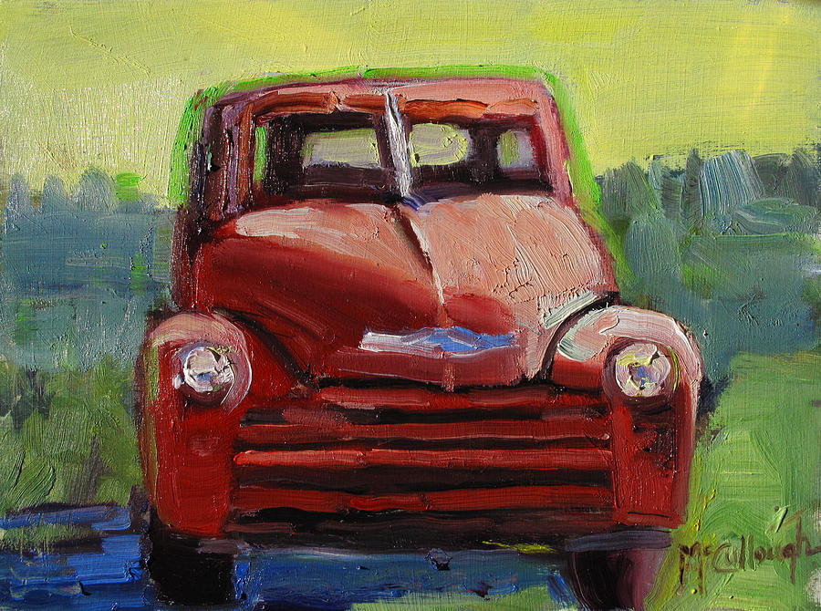 Old Painting - Red Chevy by Susan McCullough