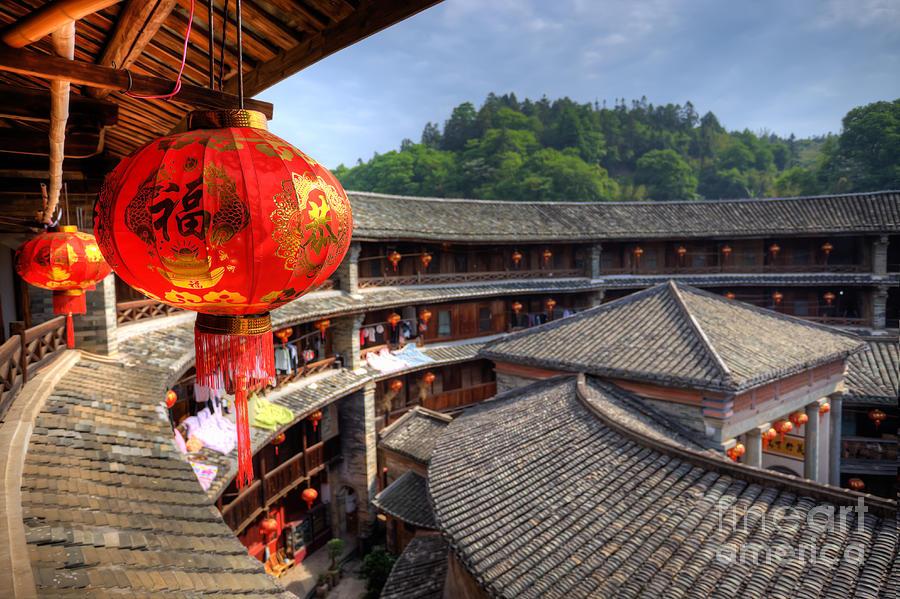 Ancient Photograph - Red Chinese Lantern In A Hakka Tulou  Fujian by Fototrav Print