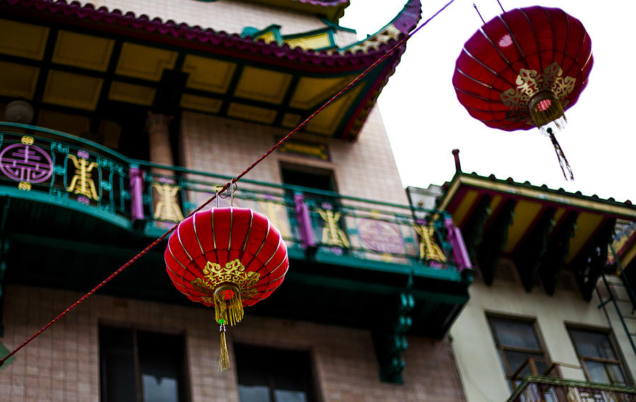 Red Photograph - Red Chinese Lanterns by SFPhotoStore