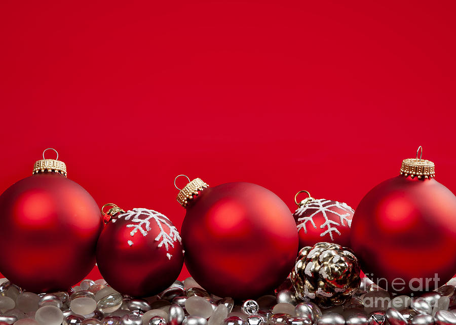 Christmas Photograph - Red Christmas Baubles And Decorations by Elena Elisseeva