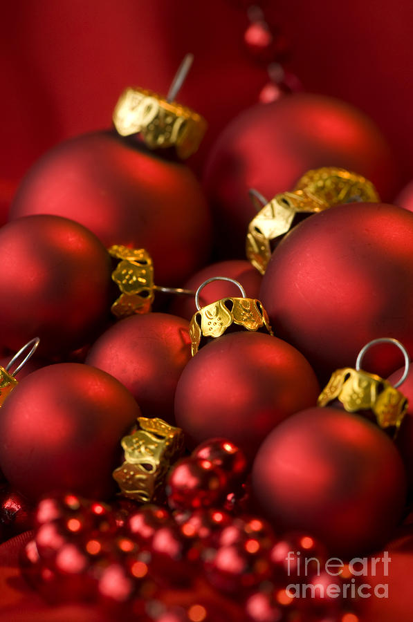 Baubles Photograph - Red Christmas Baubles by Anne Gilbert