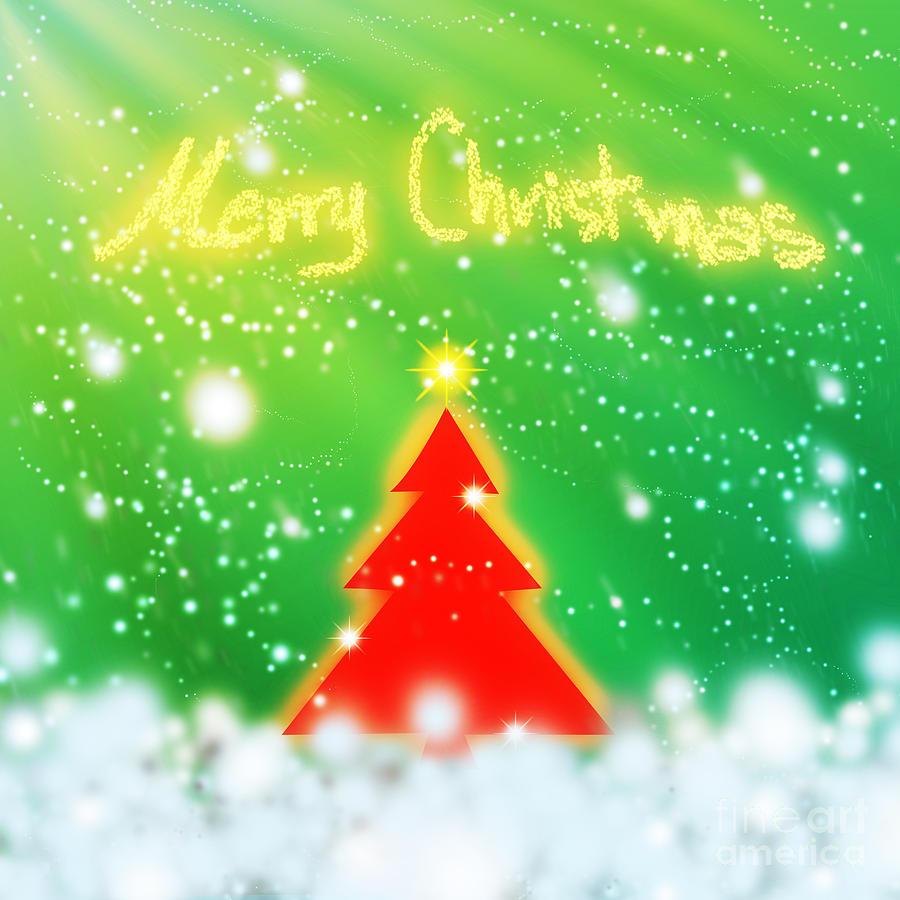 Backdrop Digital Art - Red Christmas Tree by Atiketta Sangasaeng