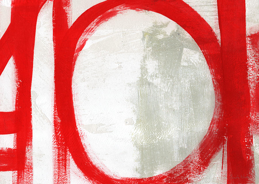 Red Painting - Red Circle 3- abstract painting by Linda Woods