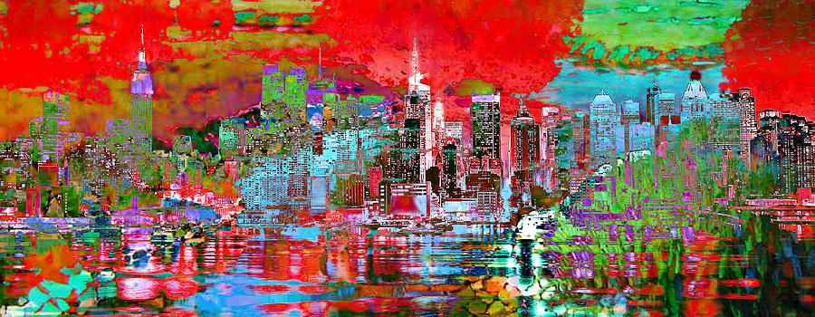 City Digital Art - Red City Art Cityscape by Mary Clanahan