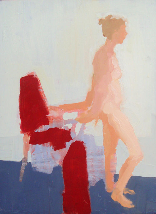 Chair Painting - Red Cloth by Cynthia Harvey