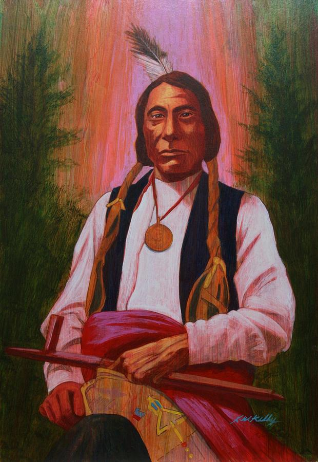 Red Cloud Painting - Red Cloud Oglala Lakota Chief by J W Kelly