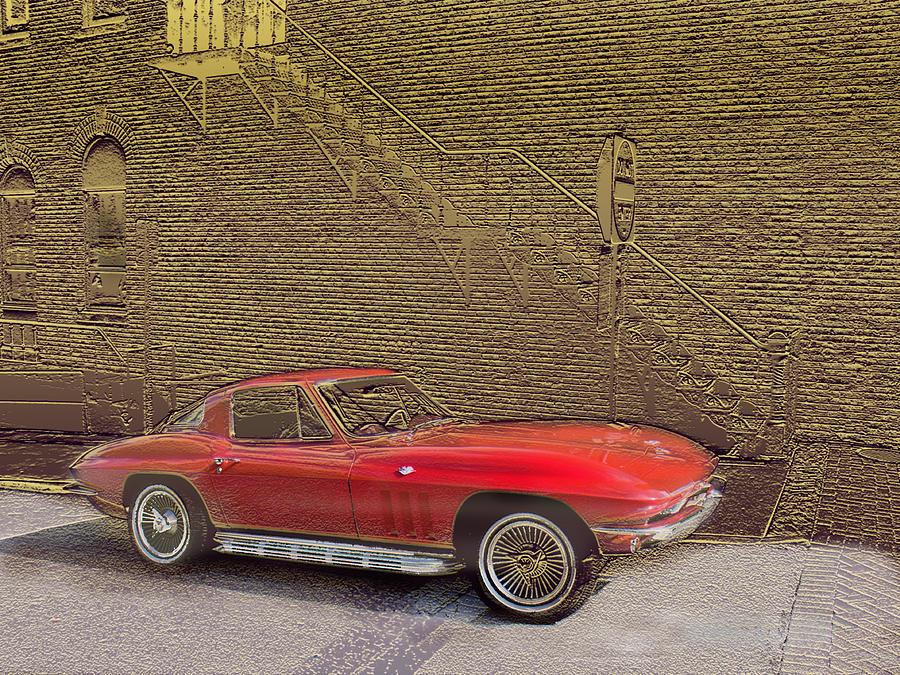 Red Corvette Mixed Media