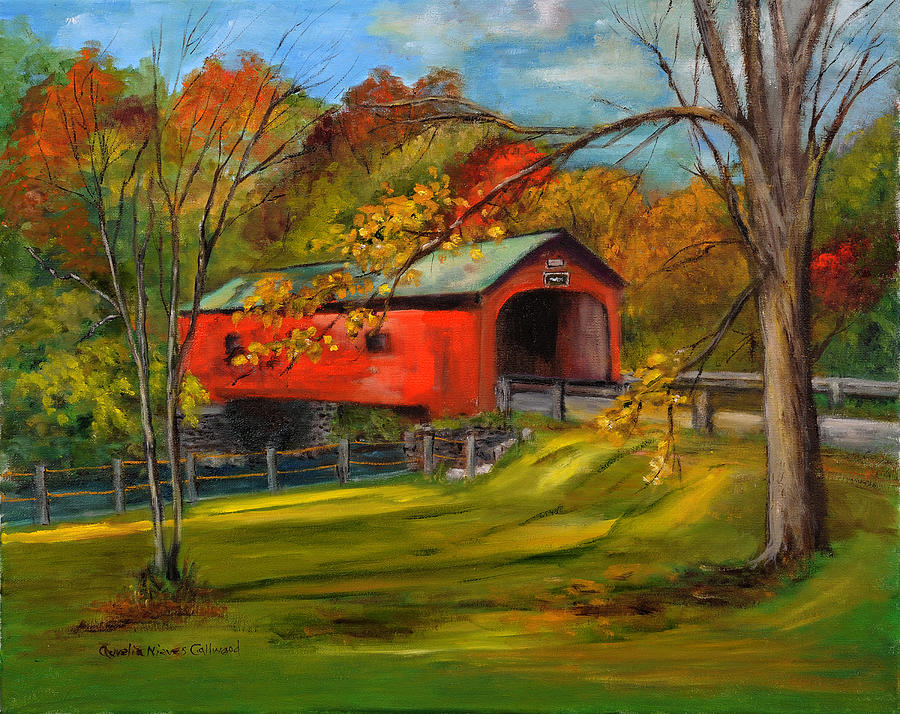 Red Covered Bridge Vt Painting By Aurelia Nieves Callwood
