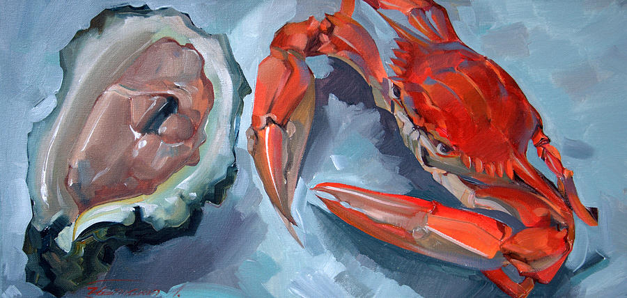red crab and oyster painting by larisa ivakinaclevenger