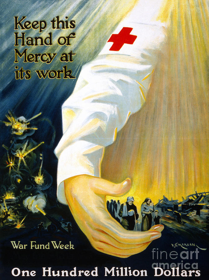 1918 Photograph - Red Cross Poster, 1918 by Granger