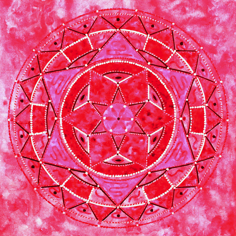 Mandala Painting - Red Crystal Mandala by Vlatka Kelc