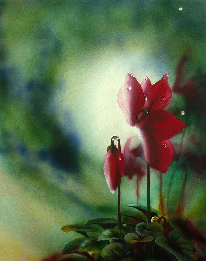 Red Flower Painting - Red Cyclamen by Lynette Yencho