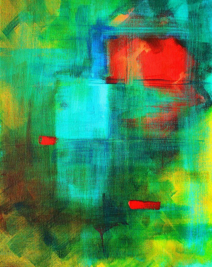 Abstract Painting - Red Dash by Nancy Merkle