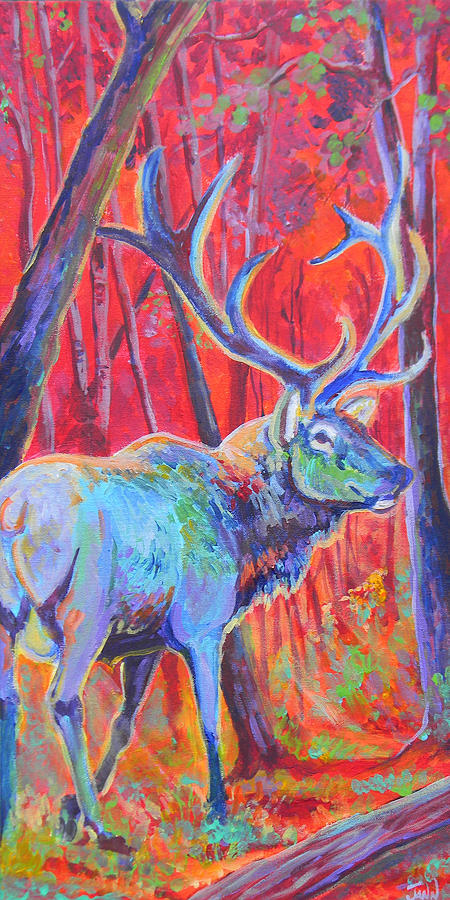 Elk Painting - Red Dawn by Jenn Cunningham
