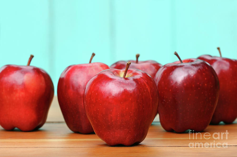 Apple Photograph - Red Delicious Apples On Old School Desk by Sandra Cunningham