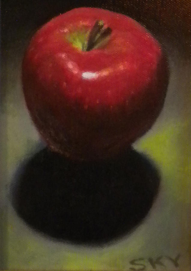 Apple Painting - Red Delicious by Blue Sky