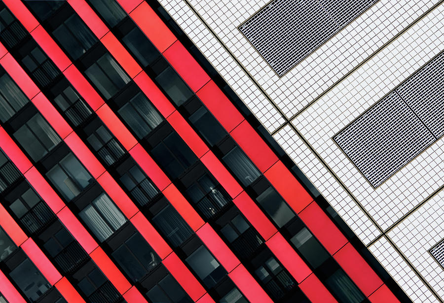 Architecture Photograph - Red Diagonals. by Greetje Van Son