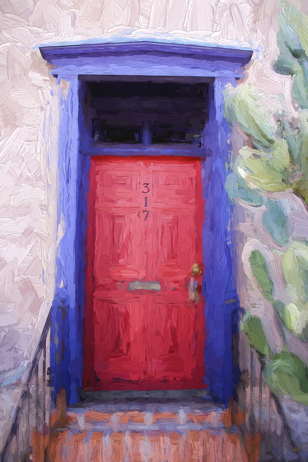 Tucson Photograph - Red Door 317 Tucson Barrio Painterly Effect by Carol Leigh
