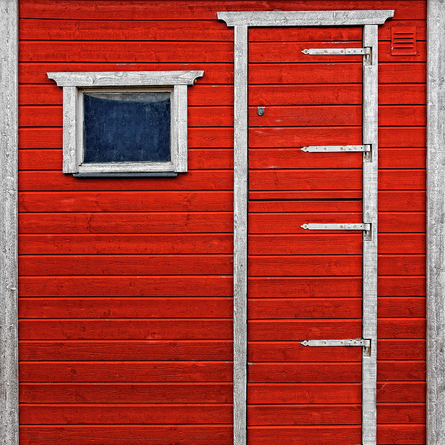Red Door And Window With White Frames - Photograph by Makasu