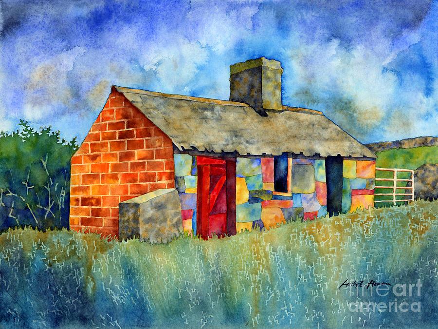 Red Door Cottage Painting
