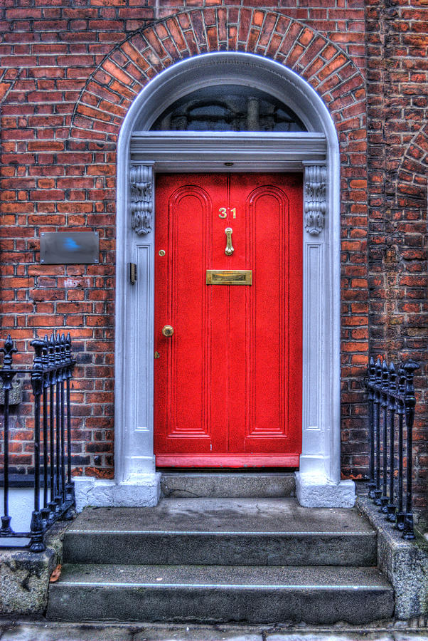 Antique Photograph - Red Door Dublin Ireland by Juli Scalzi