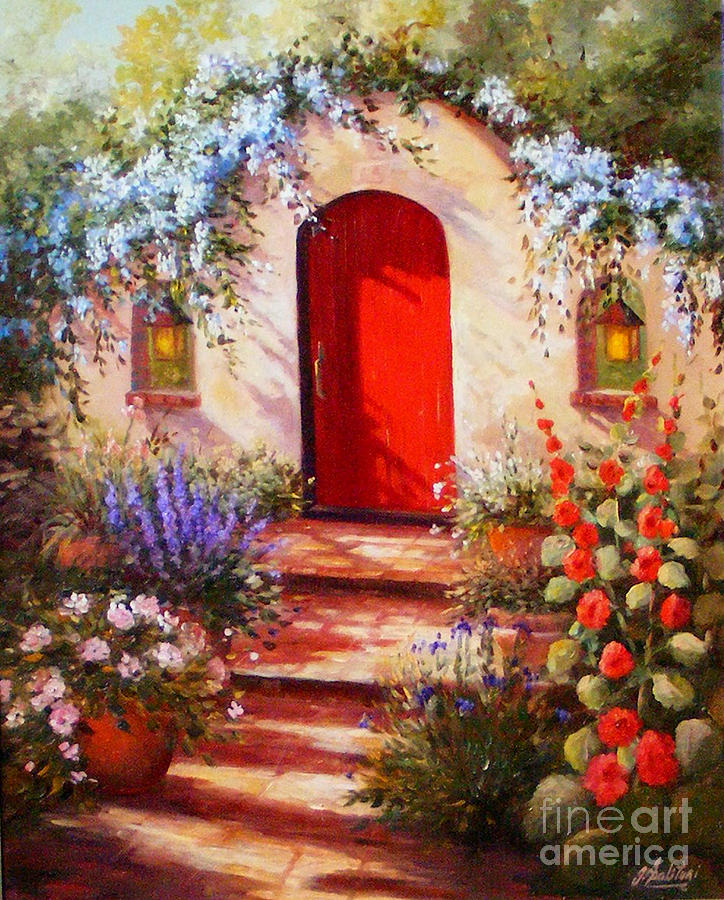 Red Door Painting - Red Door by Gail Salitui