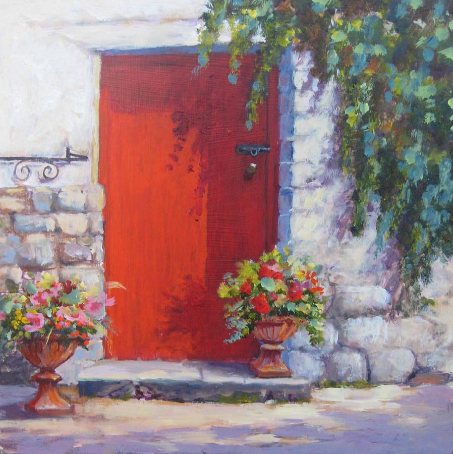 Red Door Painting By Mary Weir