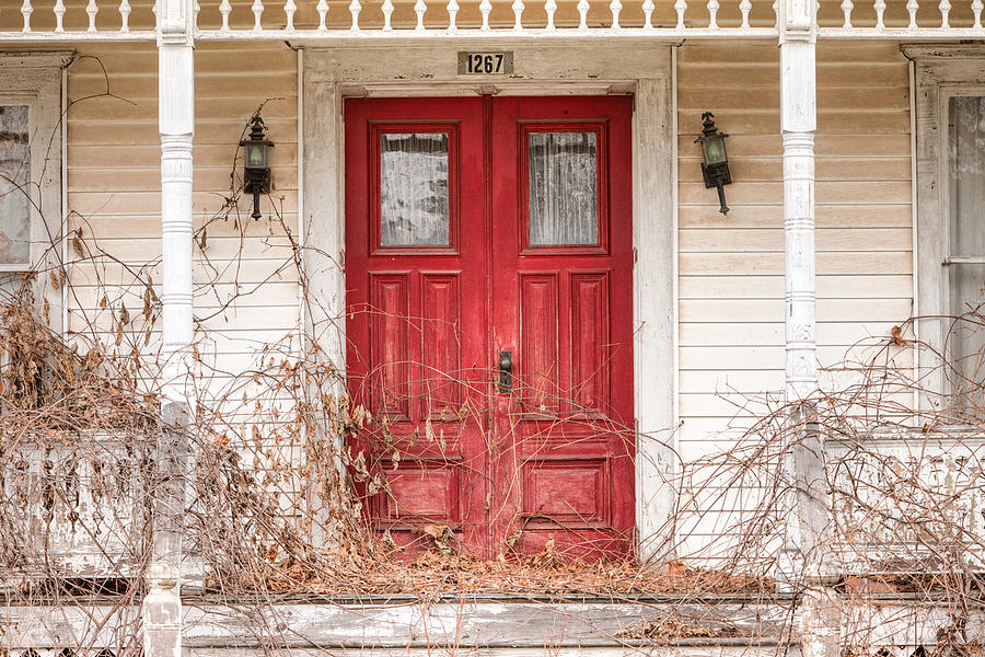 Doors Photograph - Red Doors - Charming Old Doors On The Abandoned House by Gary Heller