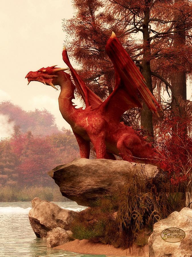 Red Dragon In Autumn Digital Art by Daniel Eskridge
