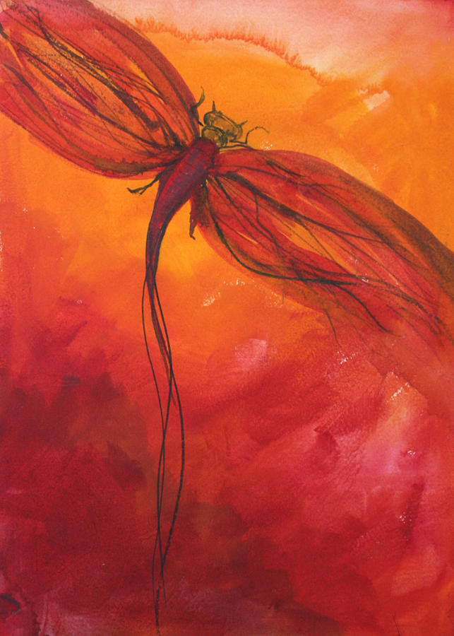 Red Dragonfly 2 by Julie Lueders