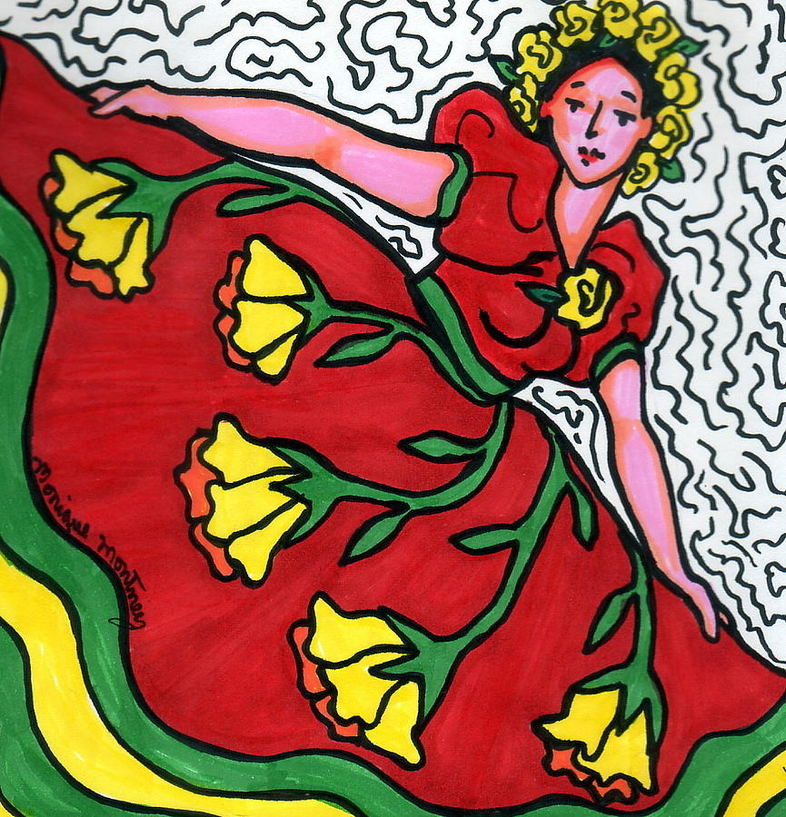 Dancer Painting - Red Dress With Yellow Roses by Monique Montney