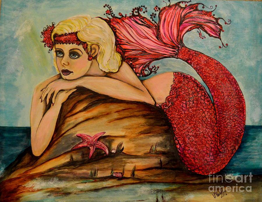 Mermaid Painting - Red Dust Mermaid by Valarie Pacheco