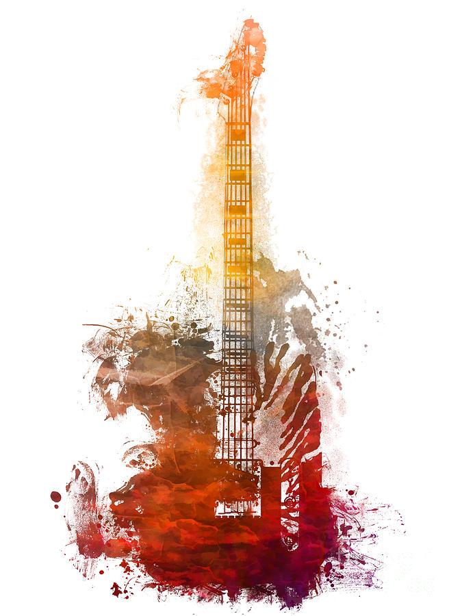 Guitar Digital Art - Red Electric guitar Musical Instrument by Justyna Jaszke JBJart