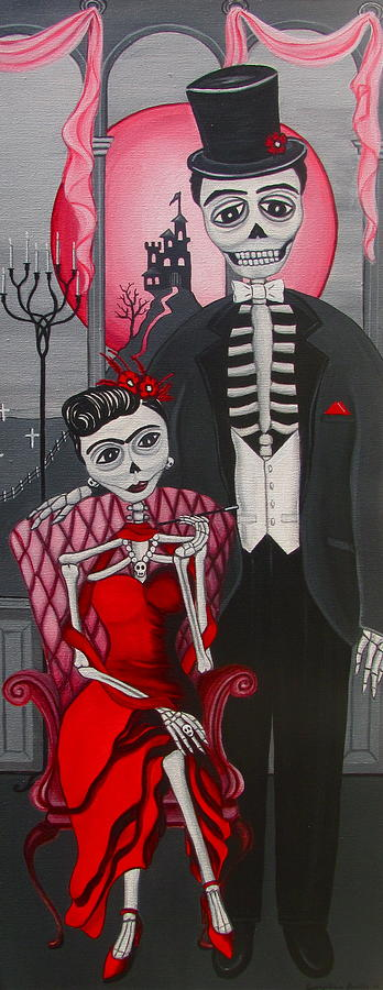 Dia De Los Muertos Painting - Red Engagement - Frida Y Diego by Evangelina Portillo