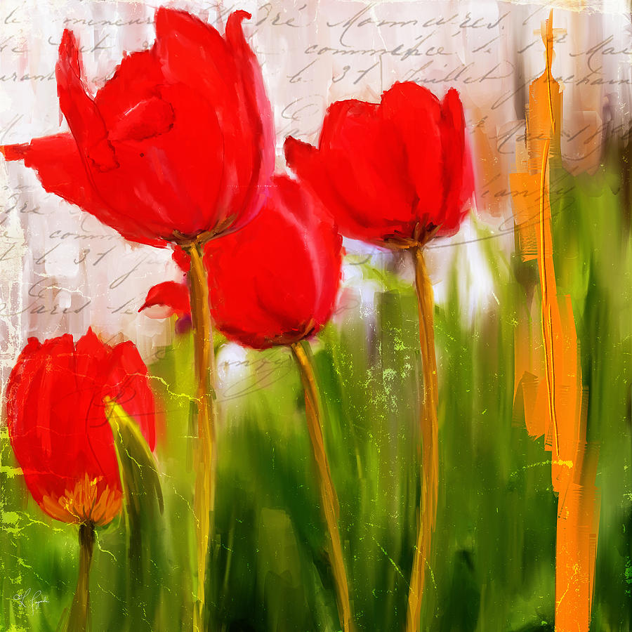 Red Enigma Red Tulips Paintings Painting By Lourry Legarde