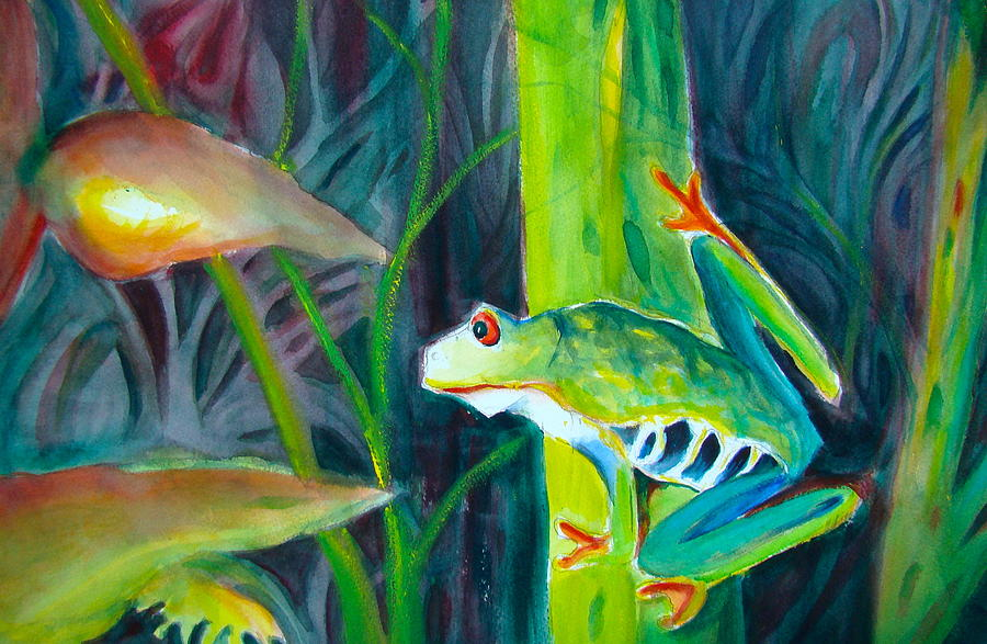 Frog Painting - Red-eyed Green Tree Frog No. One by Myra Evans