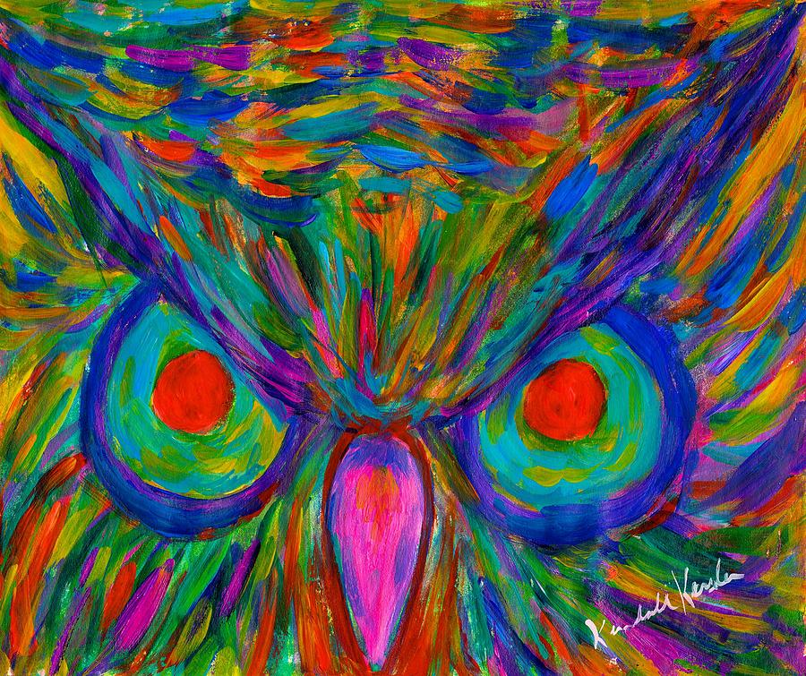 Owl Painting - Red Eyed Hoot by Kendall Kessler