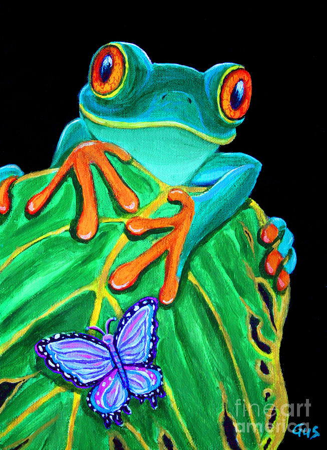 Red Eyed Tree Frog Painting - Red-eyed Tree Frog And Butterfly by Nick Gustafson
