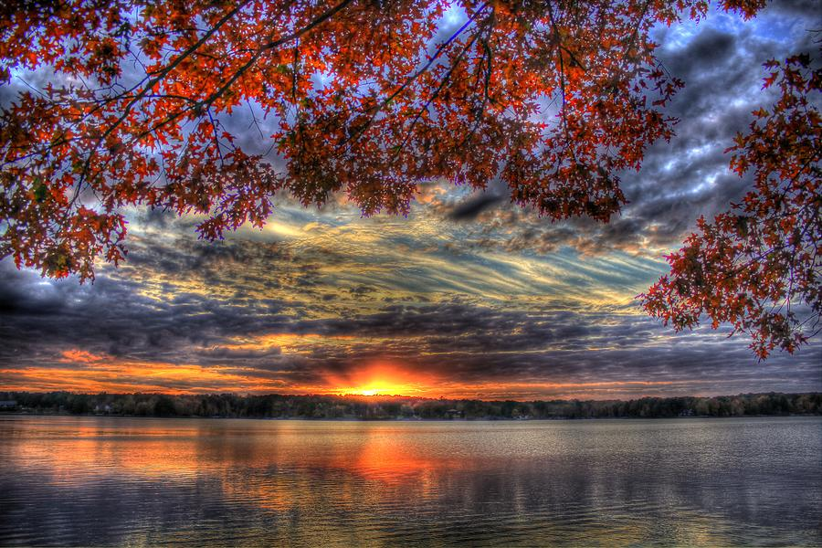 Good Bye Until Tomorrow Fall Leaves Sunset Lake Oconee Georgia by Reid Callaway