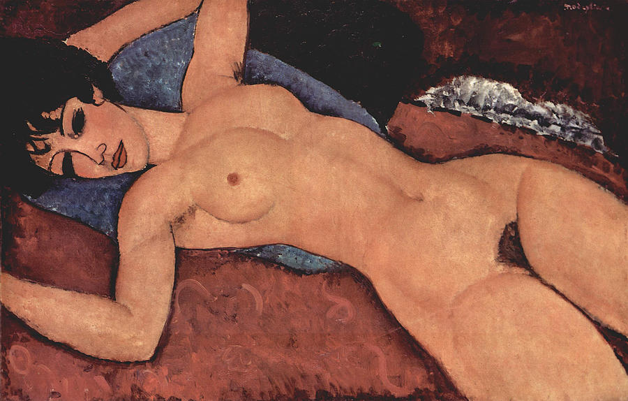 Red Female Nude Painting Painting - Red Female Nude Painting by Amedeo Modigliani