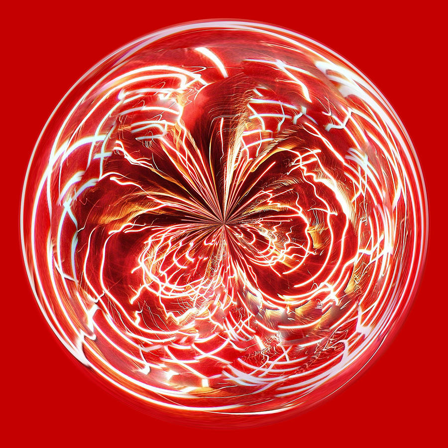Fireworks Photograph - Red Fireworks Orb by Paulette Thomas