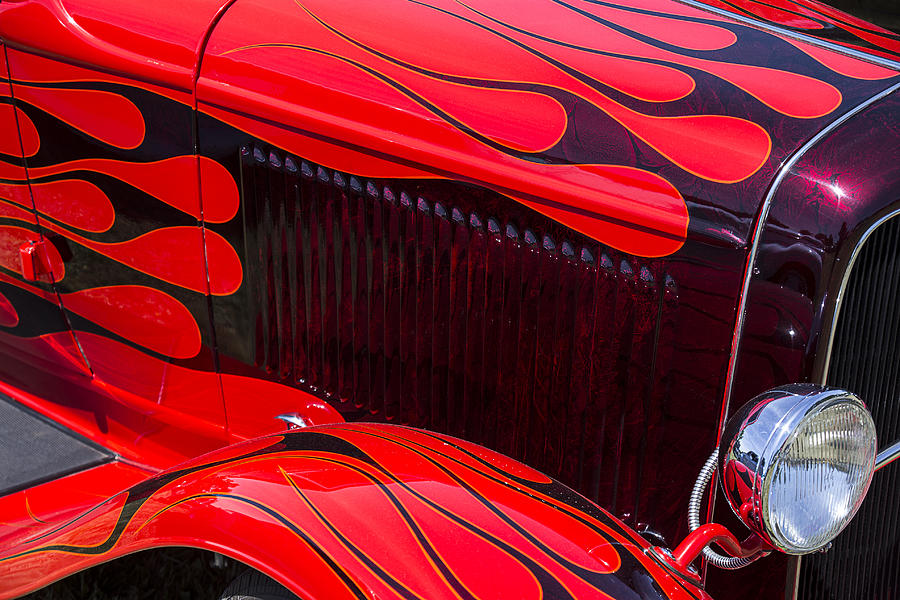Red Car Photograph - Red Flames Hot Rod by Garry Gay