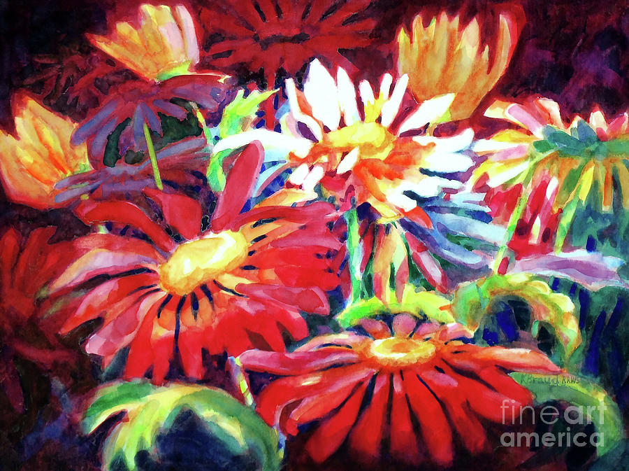 Paintings Painting - Red Floral Mishmash by Kathy Braud