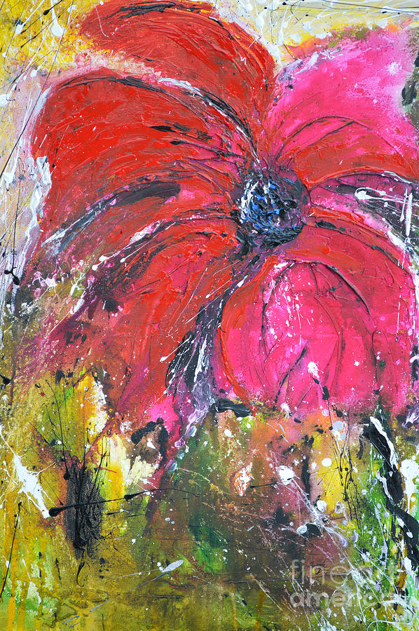 Lily Painting - Red Flower - Abstract Painting by Ismeta Gruenwald