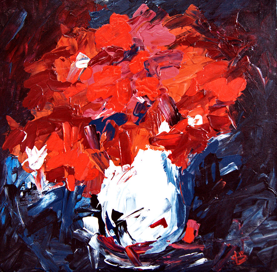 Red Painting - Red Flowers And White Vase   by Alena Samsonov
