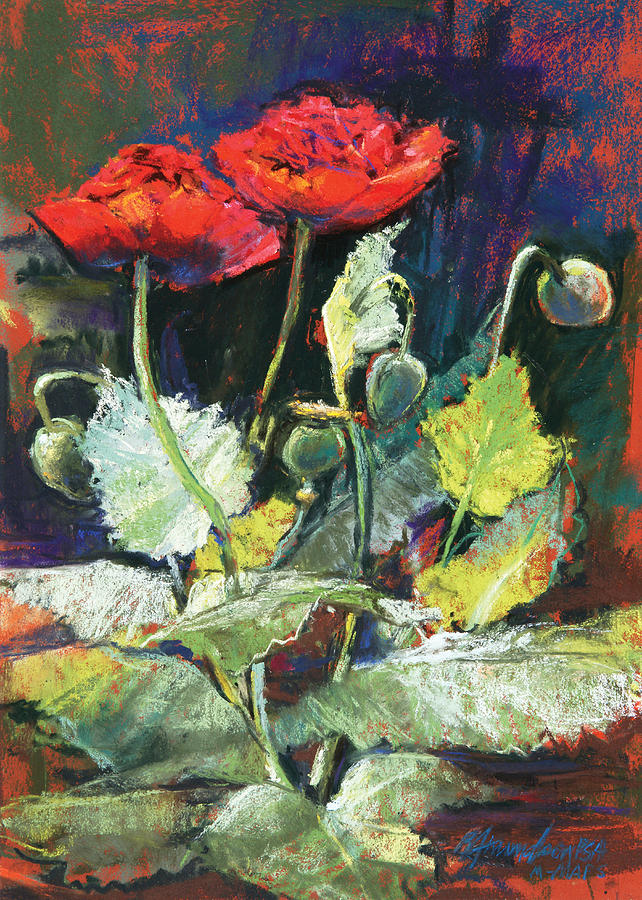 Flowers Pastel - Red Flowers by Beverly Amundson