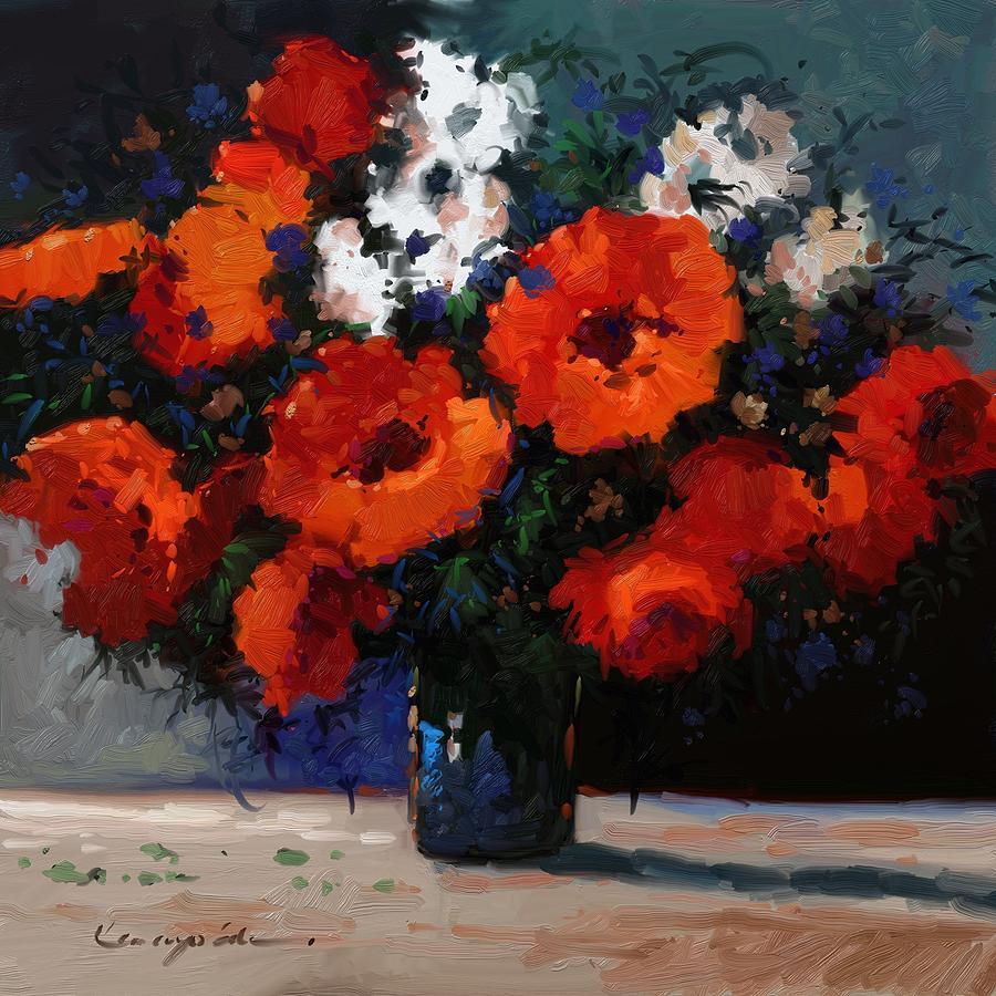 Pixels & Red Flowers In Blue Vase Painting
