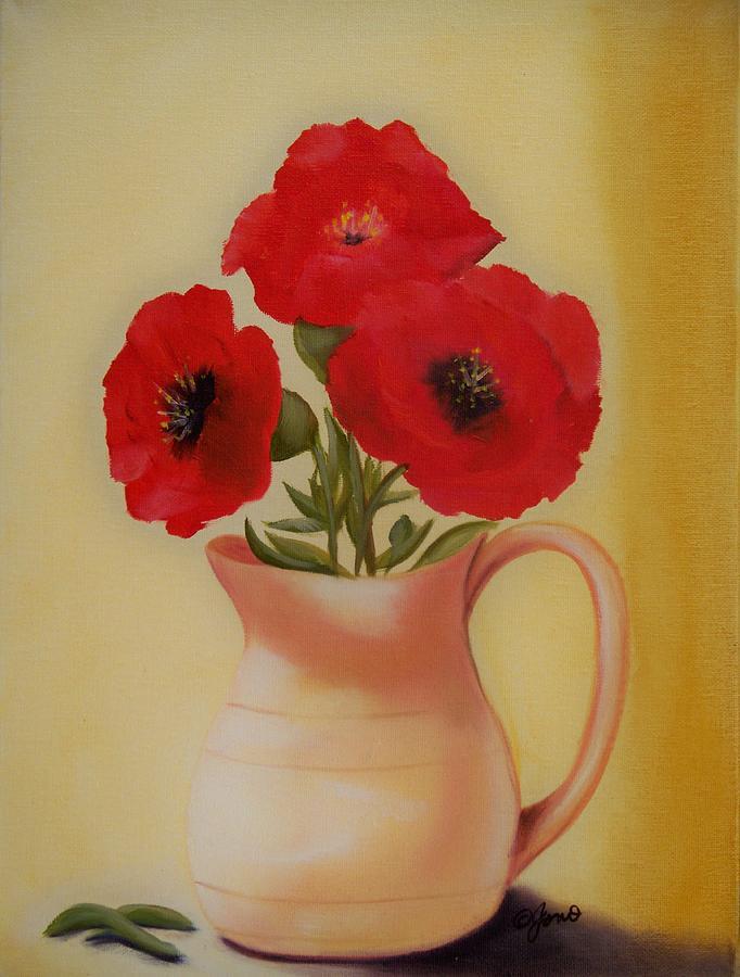 Red Flowers in Clay Pot by Joni McPherson