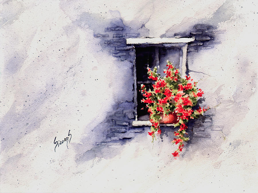 Window Painting - Red Flowers by Sam Sidders